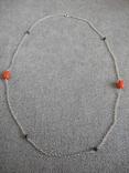 Цепочка с бусинами красного граненого коралла (серебро 925 пр, вес 4 гр), фото №3