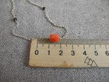 Цепочка с бусинами красного граненого коралла (серебро 925 пр, вес 4 гр), фото №4