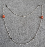 Цепочка с бусинами красного граненого коралла (серебро 925 пр, вес 4 гр), фото №2