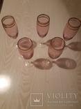 5 шт бокалов. Цветное стекло с позолотой., фото №2