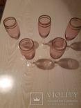 5 шт бокалов. Цветное стекло с позолотой., фото №3