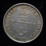Британская Вест Индия 1/4 доллара 1822 аUnc серебро, фото №2