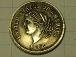 5 долларов 25 франков 1868 копия, фото №3