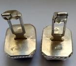 Запонки с камнями, серебро 875 (звезда) ссср, фото №5