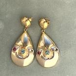 Серебряные сережки с позолотой, 5,73 грамм, фото №4