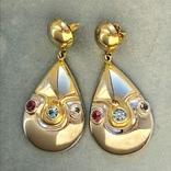 Серебряные сережки с позолотой, 5,73 грамм, фото №2