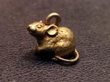 Крыса крыска бронза коллекционная миниатюра брелок, фото №2