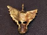 Череп с крыльями бронза брелок коллекционная миниатюра, фото №5