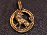 Лев бронза брелок кулон коллекционная миниатюра, фото №3