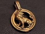 Лев бронза брелок кулон коллекционная миниатюра, фото №4
