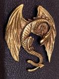 Дракон большой коллекционная миниатюра брелок бронза, фото №3