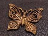 Бабочка красавица 2 скань бронза брелок коллекционная миниатюра, фото №2