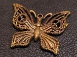 Бабочка красавица 2 скань бронза брелок коллекционная миниатюра, фото №4
