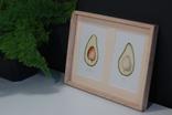 Авокадо. Авторская акварель. Декор для кухни в деревянной раме (клен), фото №4