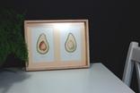 Авокадо. Авторская акварель. Декор для кухни в деревянной раме (клен), фото №5