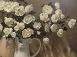 """""""Натюрморт с белыми розами"""" 50х60 см, х/м, Костенко А.С., фото №4"""