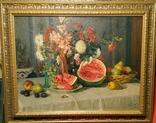 """Натюрморт с арбузом"",х/м,1954 г.,90×70 см., фото №2"