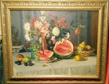 """Натюрморт с арбузом"",х/м,1954 г.,90×70 см., фото №3"