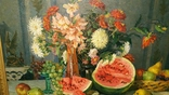"""Натюрморт с арбузом"",х/м,1954 г.,90×70 см., фото №5"