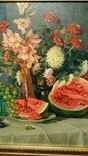 """Натюрморт с арбузом"",х/м,1954 г.,90×70 см., фото №7"