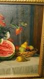 """Натюрморт с арбузом"",х/м,1954 г.,90×70 см., фото №8"