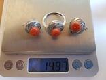 Набор кольцо + серьги. Серебро 925 проба.Коралл. Размер кольца 19, фото №9