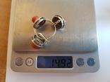 Набор кольцо + серьги. Серебро 925 проба.Коралл. Размер кольца 19, фото №12