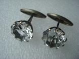 Запонки серебро 875 звезда  горный хрусталь., фото №2