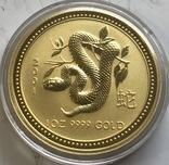 100 $ 2001 года Австралия лунар «Год Змеи» золото 31,1 грамм 999,9', фото №2