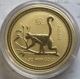 100 $ 2004 года Австралия лунар «Год Обезьяны» золото 31,1 грамм 999,9', фото №2
