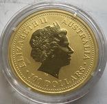 100 $ 2005 года Австралия лунар «Год Петуха» золото 31,1 грамм 999,9', фото №3