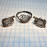 Гарнитур кольцо и серьги. серебро, фото №2