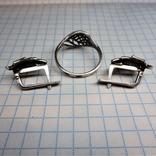 Гарнитур кольцо и серьги. серебро, фото №3