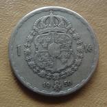 1 крона 1950 Швеция серебро (М.8.35), фото №2