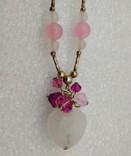 Ожерелье серебро 925 натуральный кварц белый розовый, фото №3