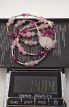 Ожерелье серебро 925 натуральный кварц белый розовый, фото №6