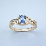 Золотое кольцо с натуральным танзанитом и бриллиантами, фото №2