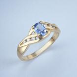 Золотое кольцо с натуральным танзанитом и бриллиантами, фото №3