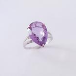Золотое кольцо с натуральным аметистом, фото №2