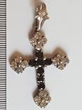 Крестик нательный. Серебро 925 проба. Много камней., фото №5