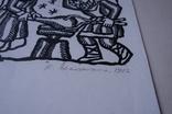 Н. Задорожна Коваль дереворит з підписом 32 на 25 см. 1982, фото №5
