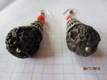 Этно серьги мельхиор коралл вулканический камень, фото №4