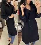 Стильное кашемировое пальто черное 46 размер, фото №2