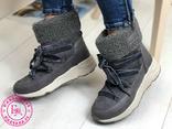 Серые зимние ботинки, полусапожки, угги на меху 37 размер, фото №6