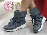 Серые зимние ботинки, полусапожки, угги на меху 37 размер, фото №8
