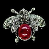 Брошь - подвессеребро 925 натуральный рубин., фото №2