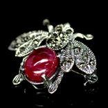 Брошь - подвессеребро 925 натуральный рубин., фото №3
