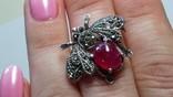 Брошь - подвессеребро 925 натуральный рубин., фото №7