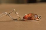 Серьги серебро, золото, янтарь, фото №3