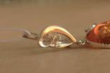 Серьги серебро, золото, янтарь, фото №4